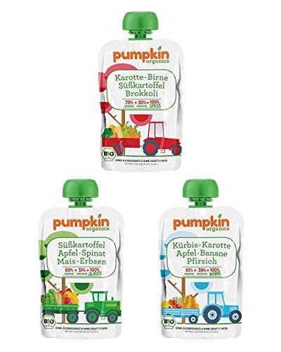 Pumpkin Organics ÜBERRASCHUNGSPAKET Bio Gemüse Quetschies, 50er Pack (50 x 100g) - Snacks für...