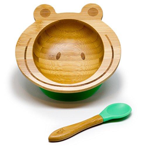 KLEINER FUCHS präsentiert - Hochwertige Baby Schüssel aus naturbelassenem Bambus mit rutschfestem...