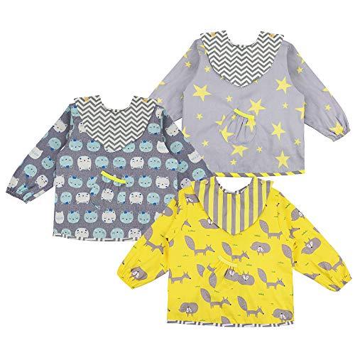 Lictin Baby Lätzchen mit Ärmeln 3 Set Baumwolle Lätzchen Wasserdicht Baby Lätzchen Bibs Set für...